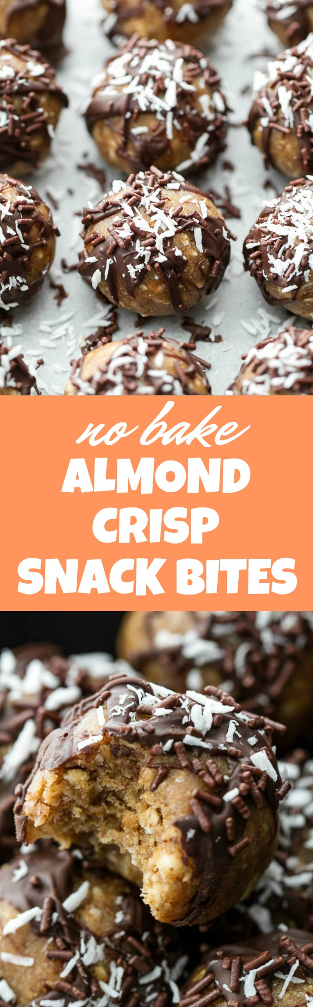 No Bake Almond Crisp Snack Bites that are super easy to make and loaded with healthy ingredients!! | runningwithspoons.com #glutenfree #vegan #snack #recipe