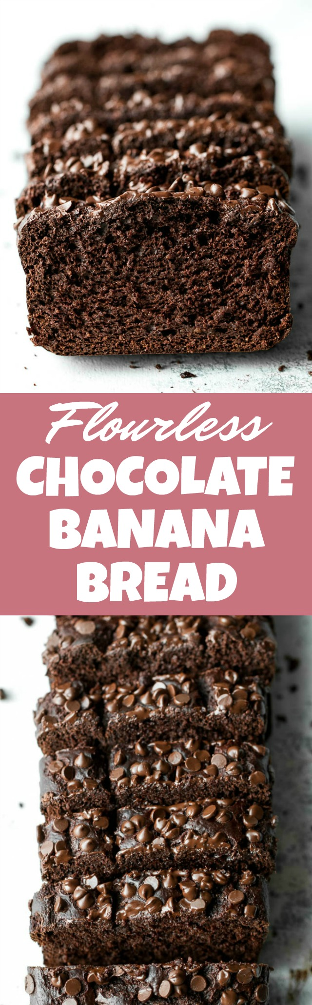 Flourless Chocolate Banana Bread made with NO flour, butter, or oil, but so soft, tender, and chocolatey that you'd never be able to tell! It's gluten-free, low in refined sugar, and whipped up in the blender in 5 minutes flat! | runningwithspoons.com