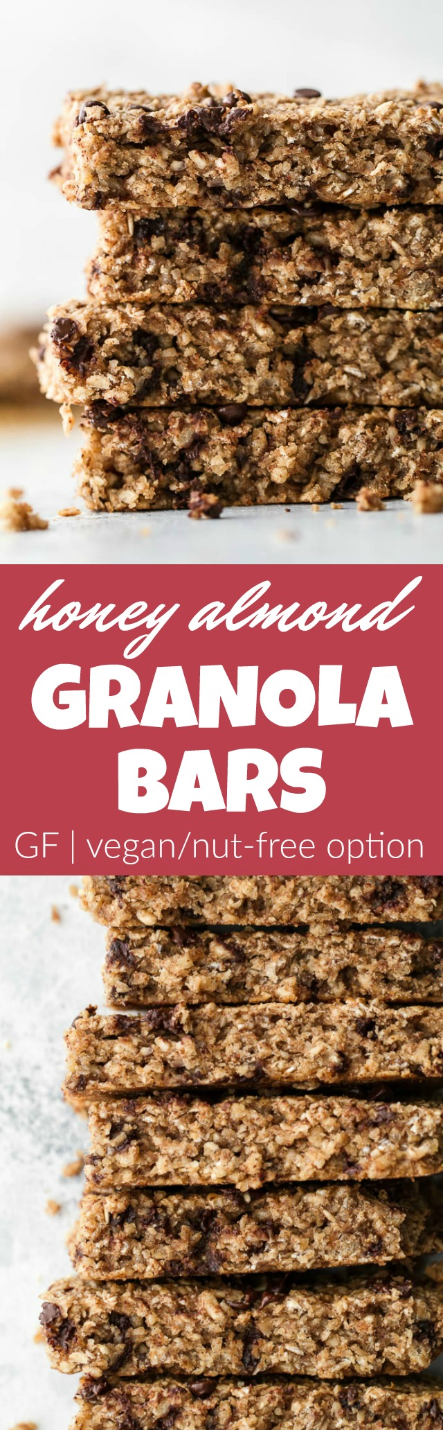So much better than store-bought! These honey almond granola bars are made without any refined sugars or oils, with just the perfect touch of honey and almond flavour! They're gluten-free, vegan, and easily made nut-free if you need them to be. The perfect easy and healthy snack! | runningwithspoons.com