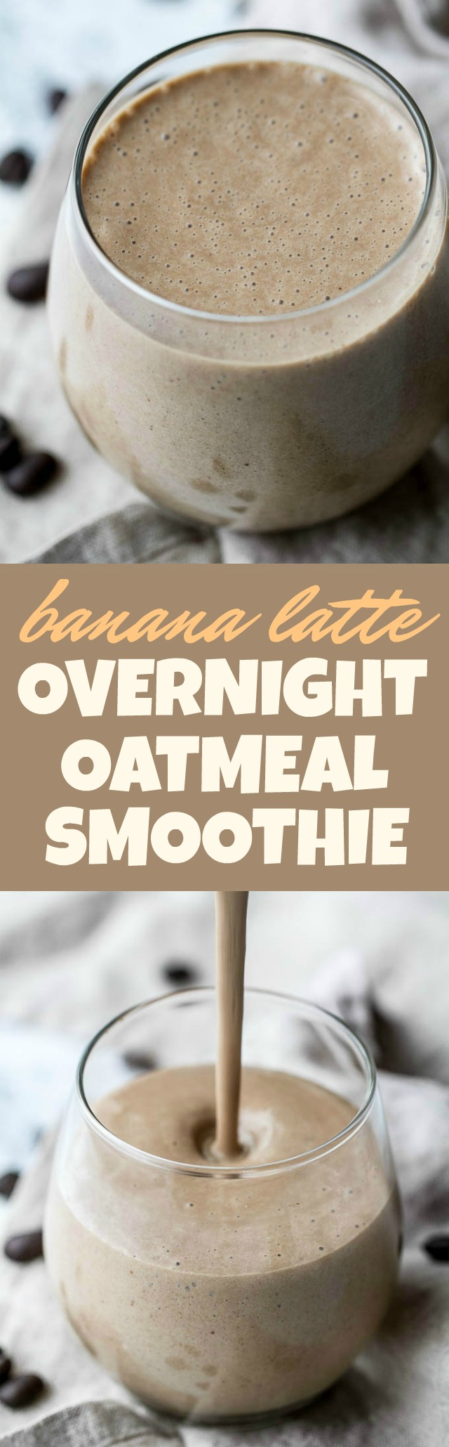 Coffee lovers rejoice! This creamy Banana Latte Overnight Oatmeal Smoothie combines that stick-to-your-ribs feeling of a bowl of oats with the silky smooth texture of a smoothie... plus your morning cup of coffee!! Vegan, gluten-free, and packed with plant-based protein and fiber, it makes a healthy and easy breakfast or afternoon snack! | runningwithspoons.com #recipe #coffee #smoothie #vegan
