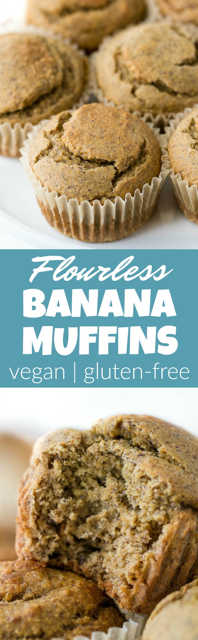 Flourless Vegan Banana Muffins -  so light, tender, and loaded with flavour, you'd never know they were made without flour, oil, eggs, or refined sugar!! | runningwithspoons.com #vegan #glutenfree #recipe #snack #breakfast #healthy
