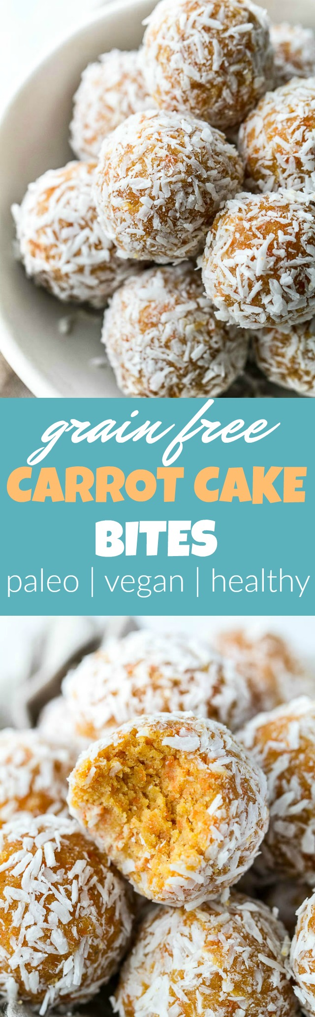 These Grain Free Carrot Cake Bites are paleo, vegan, refined sugar-free, and made with only 4 major ingredients! They're soft and doughy with a subtle sweetness and the perfect amount of spice. A perfect little healthy snack.   runningwithspoons.com #vegan #paleo #spring #glutenfree