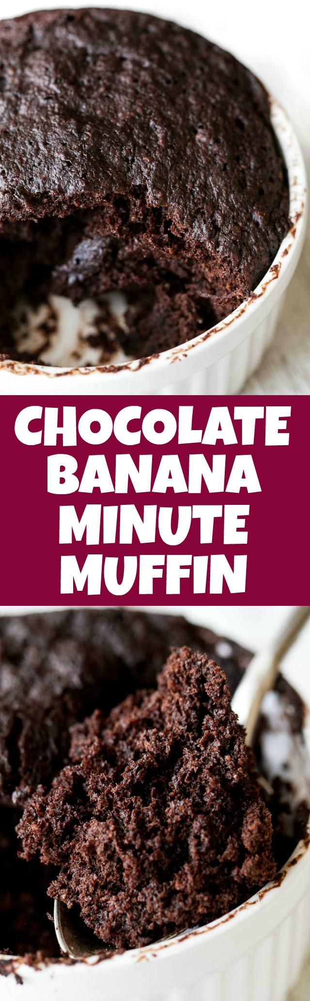 This chocolate banana minute muffin is a perfect way to satisfy those chocolate cravings and takes under 5 minutes to make! It's vegan, gluten-free, nut-free, and made with wholesome ingredients, but so light, tender, and chocolatey that you'd never guess it was healthy! | runningwithspoons.com #recipe #vegan #glutenfree #chocolate #healthy #dessert