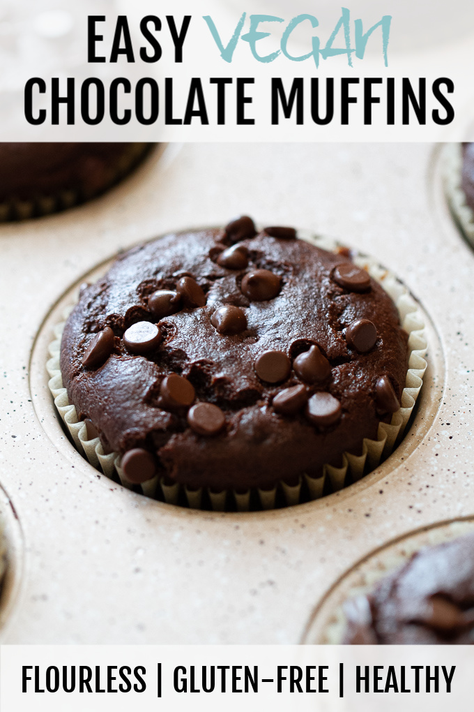 Easy Vegan Chocolate Muffins - a deliciously healthy snack! So tender and chocolatey, you'd never know they were made without flour, oil, eggs, or refined sugar #vegan #glutenfree #snack #muffins