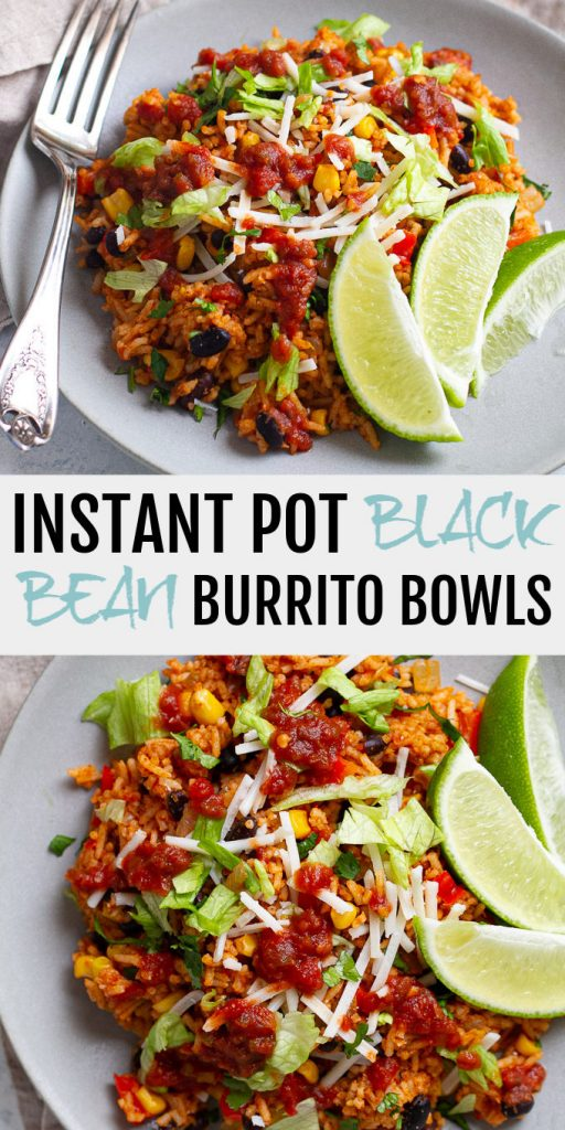 Instant Pot Black Bean Burrito Bowls -packed with plant-based protein and fibre, these bowls make for quick and easy dinner option that's vegan, gluten-free, and totally delicious!
