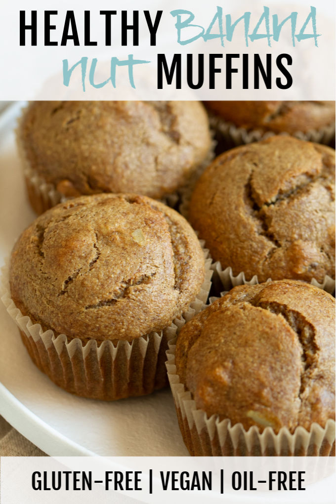 Healthy Banana Nut Muffins that are so light, tender, and loaded with flavour, you'd never know they were made without flour, oil, eggs, or refined sugar!