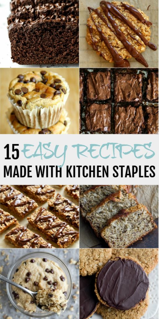 A collage of easy recipes to make with simple kitchen staples.