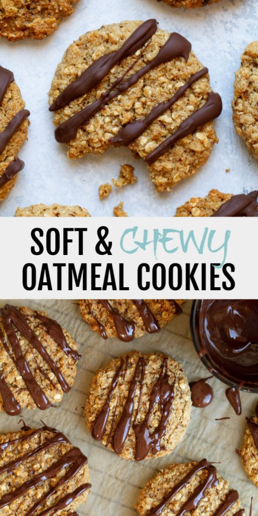 Soft and Chewy Oatmeal Cookies that are super easy to make with only one bowl and 8 healthy ingredients!