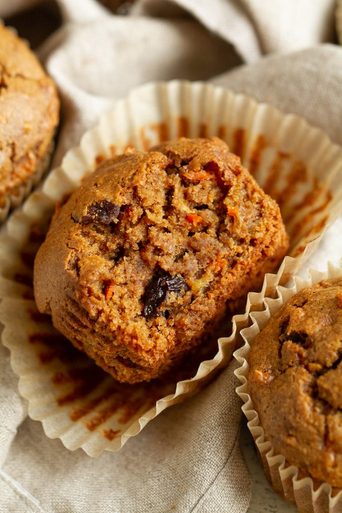 Easy Morning Glory Muffins that are so tender and loaded with flavour, you'd neverknow they were made without flour, oil, eggs, or refined sugar.