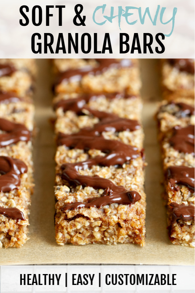 These soft and chewy granola bars are way better than store-bought and so easy to customize! They're gluten-free, refined sugar-free and easily made nut-free and/or vegan.