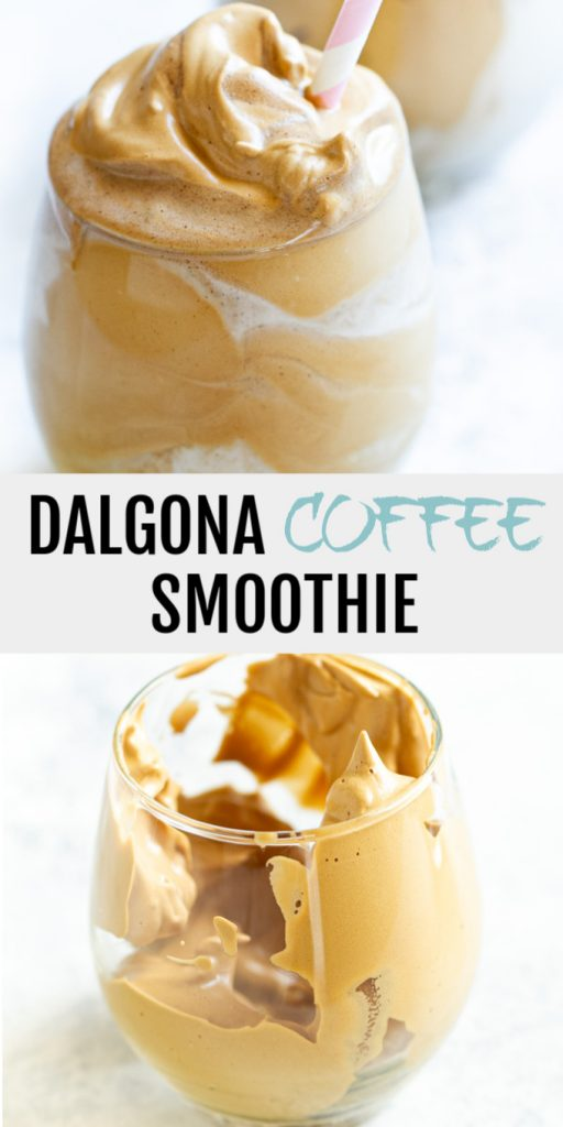 A dalgona coffee smoothie collage for pinterest.