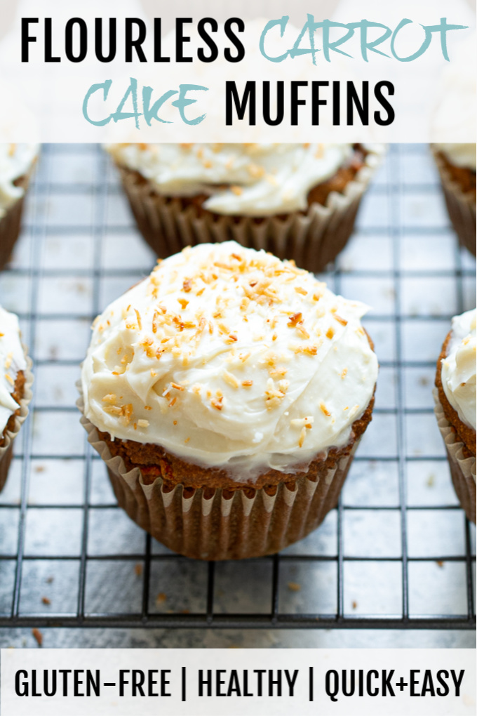 Flourless carrot cake muffins with cream cheese frosting.