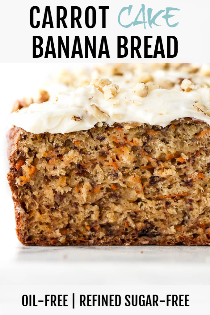 Sliced carrot cake banana bread with cream cheese frosting and chopped walnuts on top. The texture is especially tender.