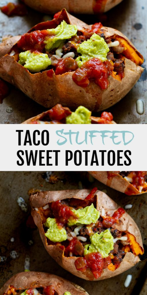 A collage of stuffed sweet potatoes for Pinterest