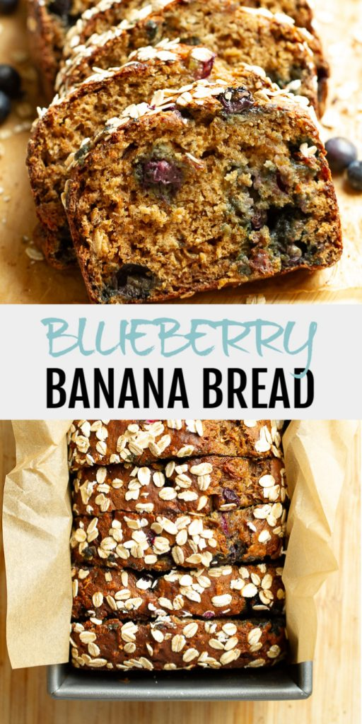 A collage of blueberry banana bread for Pinterest.