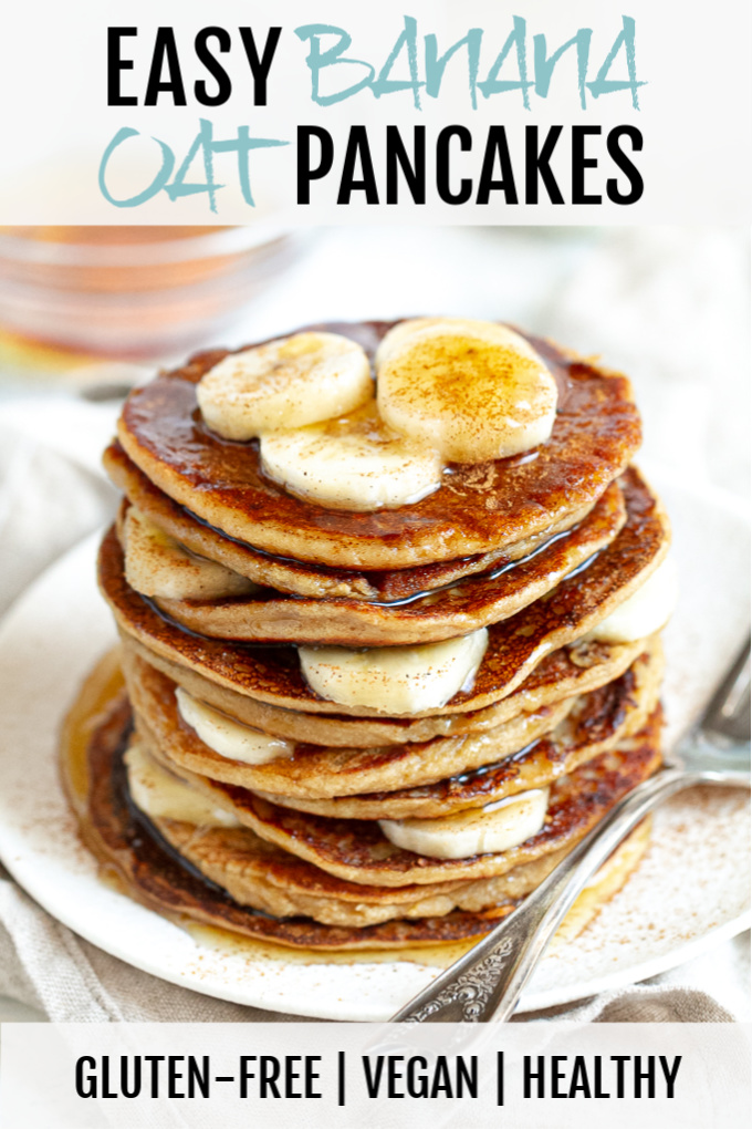 A stack of easy banana oat pancakes topped with maple syrup.