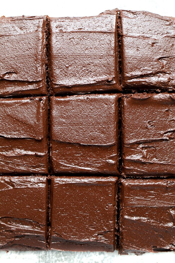 Easy chocolate sheet cake sliced up.