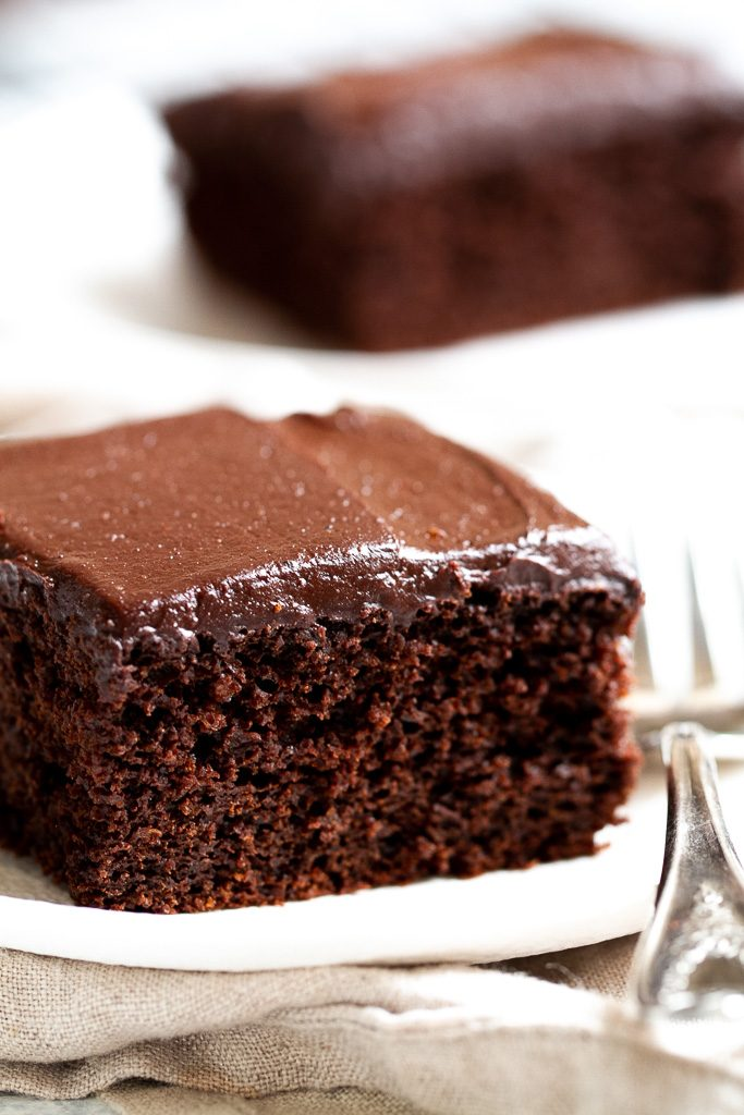 A slice of easy chocolate sheet cake.