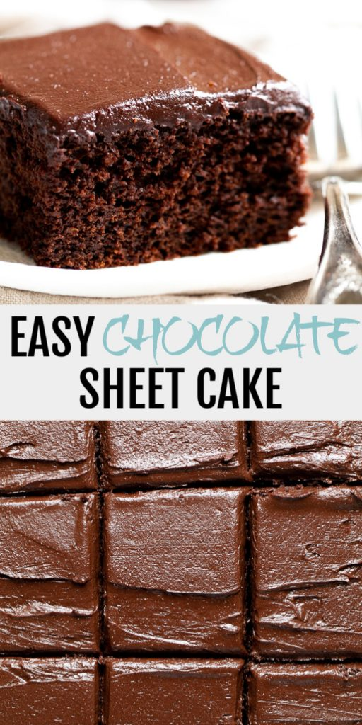 A collage of easy chocolate sheet cake for Pinterest.