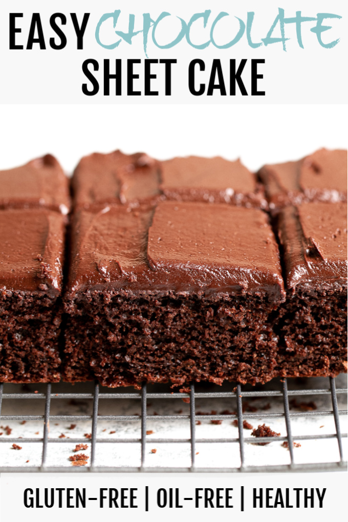 Easy chocolate sheet cake on a cooling rack.