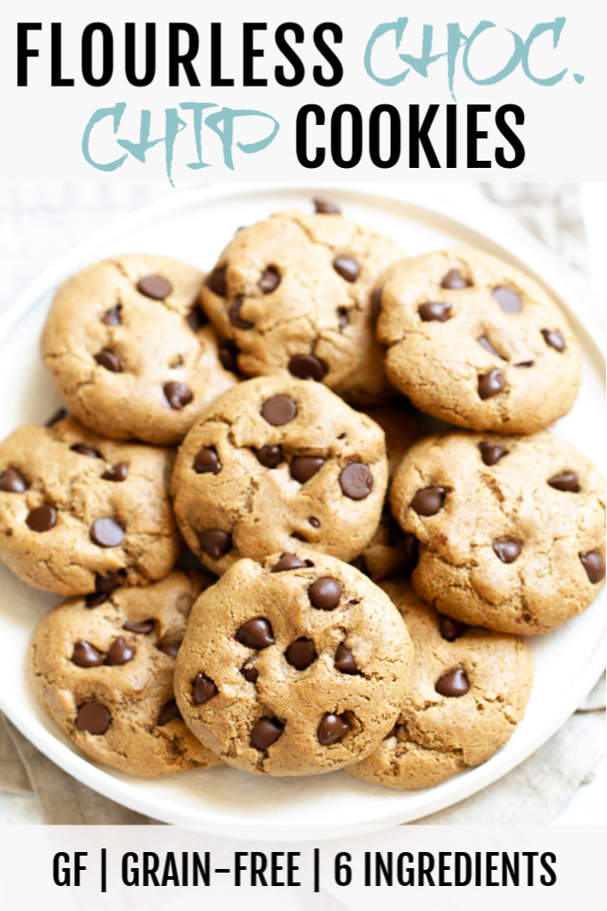 A plate of flourless chocolate chip cookies.