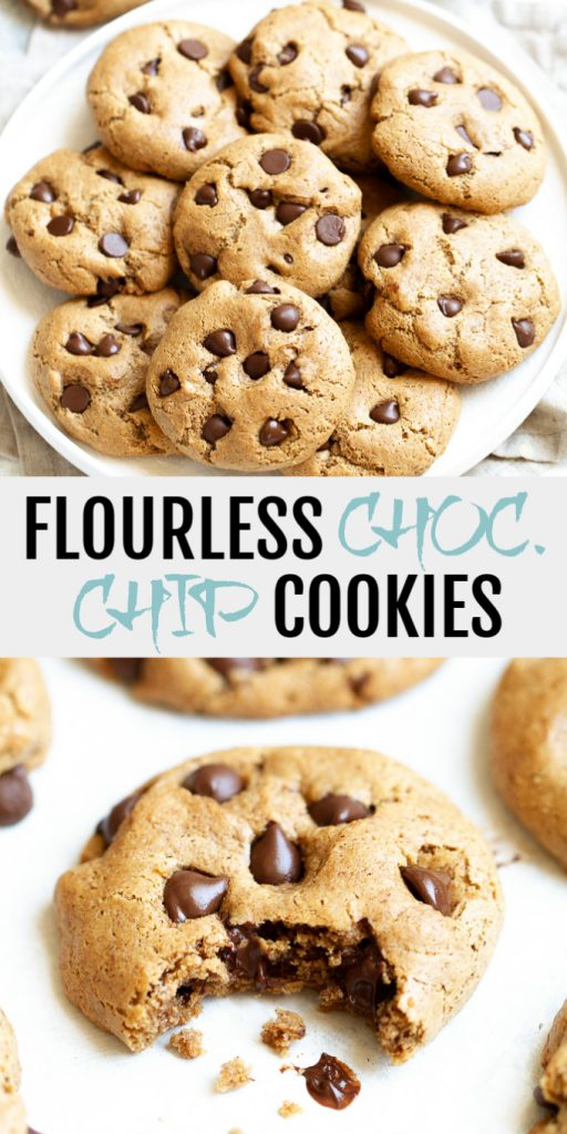 A collage of flourless chocolate chip cookies for Pinterest.
