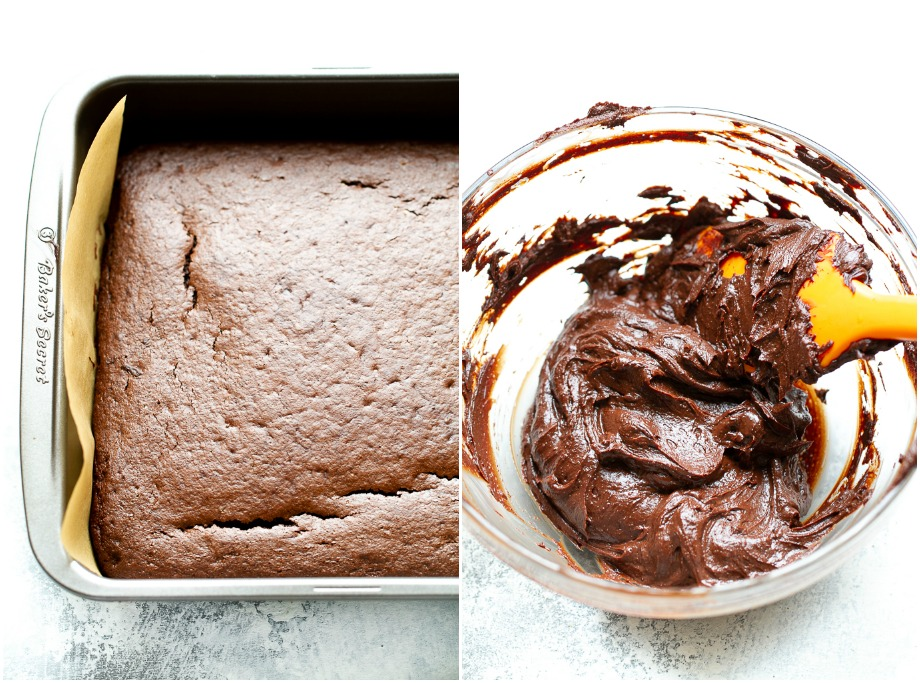 Easy chocolate sheet cake with a bowl of chocolate frosting.