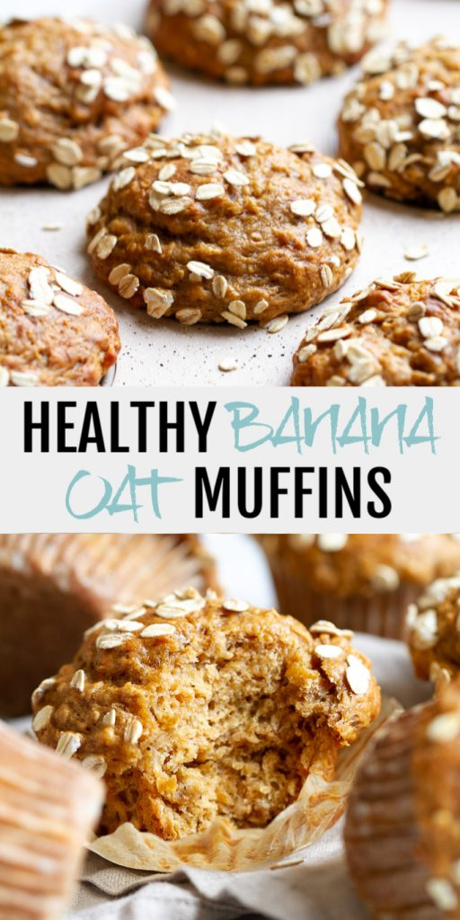 A collage of healthy banana oat muffins made for Pinterest.