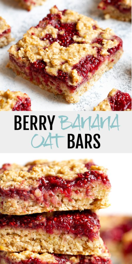 A collage of strawberry banana oat bars for Pinterest.